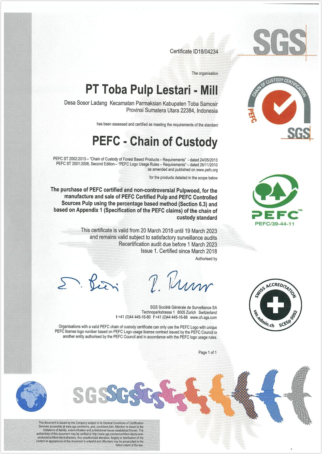 PEFC-CS MILL 2019